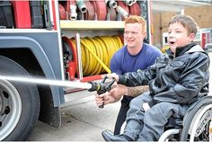 (HULL) Christian Routledge, 13, who has spina bifida, was the envy of his school friends when he was taken on a tour of Calvert Lane Fire Station in west Hull.