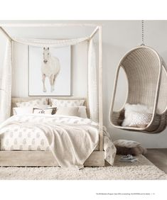 RH Teen - if i had a room like this i would love it, chair, side table, bed low not 4 poster