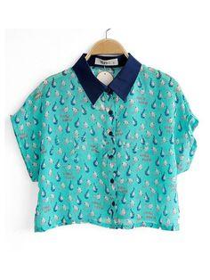 Green Contrast Collar Short Sleeve Print Chiffon Crop Shirt