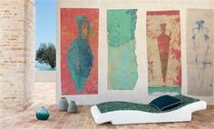 """Elitis Socrate faded pottery wall art panoramic mural wallcovering / wallpaper.  Sold by 4 panels of 39"""" width X 118"""" height roll"""