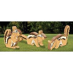 """3D Chipmunks DIY Woodcraft Pattern #2242 - These cute little guys will surely catch your eye on your deck, porch or in your flower gardens. Largest is 4""""T x 9-1/2"""" long. Pattern by Sherwood Creations #woodworking #woodcrafts #pattern #craft #3D #chipmunk"""