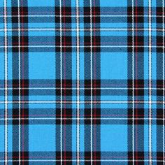 Tartan Check 8 - Polyester - Viscose - turquoise blue