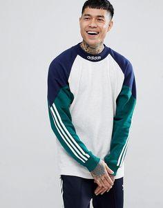 adidas Skateboarding Pitils Sweatshirt In Grey at ASOS. Adidas Outfit, Nike Outfits, Retro Sweatshirts, Adidas Fashion, Mens Fashion, Hommes Sexy, Sweater Hoodie, Sportswear, Man Style