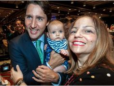 Liberal Party Leader Justin Trudeau and mom, Kelly LaRocca are all smiles but 12-week-old birthday girl Ruby Valerie LaRocca isn't so sure at the Assembly of First Nations 36th Annual General Assembly at the Bonaventure Hotel in Montreal, on Tuesday, July 7, 2015.