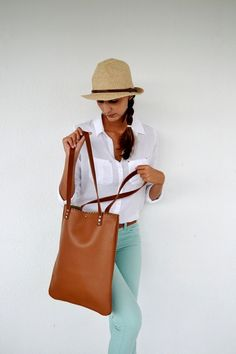 Camel brown leather tote bag / Handmade leather bag by AnaKoutsi, $110.00