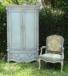 Armoire - final result Base painted in Provence; wash of Louis Blue; wash of French Linen; dry brush sparingly Pure White highlights; soft and dark wax; French gilding paste (soft gold and pewter)