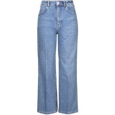 TOPSHOP MOTO Wide Leg Cropped Jeans (1.050.375 IDR) ❤ liked on Polyvore featuring jeans, mid stone, topshop, blue high waisted jeans, high-waisted jeans, topshop jeans and high rise wide leg jeans