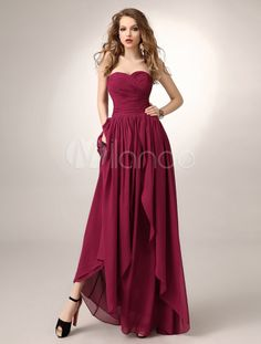Vestido de damas de honor de chifón de color borgoña sin mangas - Milanoo.com
