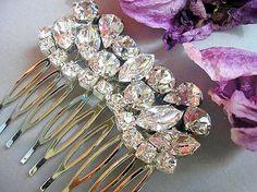 Bridal hair comb bridal hair jewelry vintage style by Hinuma, $35.00
