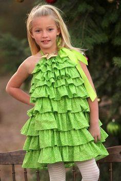 db93f4ac2a Girls Christmas Tree Halter Dress Child Smile