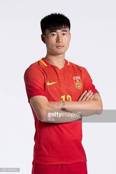 Deng Hanwen of China poses during the team presentation ahead of the 2017 Gree China Cup International Football Championship on January 8 2017 in...