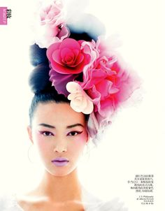 """""""Beauty: Flower Power"""" ~ Tian Yi by Chris Craymer for Vogue China, February 2013 Beauty Photography, Fashion Photography, Mode Glamour, Floral Headpiece, Flower Headdress, How To Draw Hair, Beauty Editorial, Flowers In Hair, Artistic Make Up"""