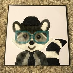 Hipster raccoon perler beads by theycallme_pg