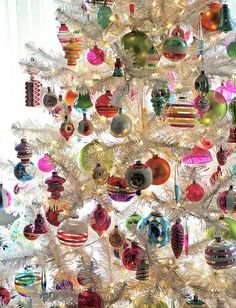 Vintage Ornaments on a white tree. ♥