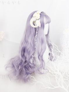 Lolita Purple Curl Cosplay Wig sold by storemosquito. Shop more products from storemosquito on Storenvy, the home of independent small businesses all over the world. Kawaii Hairstyles, Pretty Hairstyles, Wig Hairstyles, Lilac Grey Hair, Purple Hair, Anime Wigs, Anime Hair, Pastel Wig, Kawaii Wigs