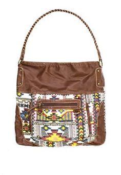 TRIBAL PRINT HOBO BAG