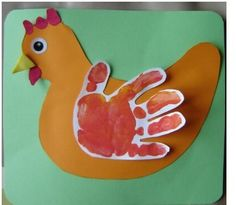 Chicken handprint craft for kids---Good for Rooster crowing