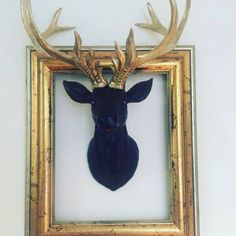 Stag head 'Noir' has been framed! ❤️❤️  Www.pinkparrotsco.co.uk  #Stagheaddesign