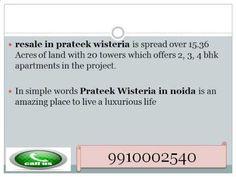 Prateek Wisteria Resale (9910002540) Price Flats in Noida Sector 77, Rea...