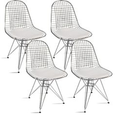 Fine Mod Imports Eiffel Dining Chair Set of 4 Restoration Hardware Chair, Herman Miller Aeron Chair, Upholstery Fabric For Chairs, White Cushions, Dining Chair Set, Dining Room, Seat Pads, Side Chairs, Mid-century Modern