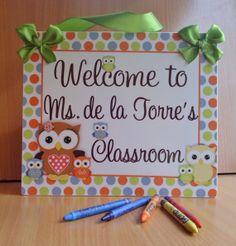 welcome to teachers classroom door sign  owls themed by kasefazem, $16.99