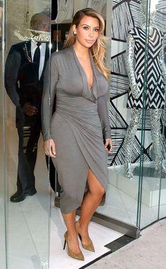 I am jonesing for a dress like this gray faux wrap style Kim Kardashian wore