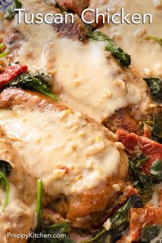 Tuscan Chicken is such an easy weeknight meal that takes less than an hour from start to finish to make. It's a classic comfort meal as the chicken is covered with a delicious cream sauce that is packed with so much flavor thanks to the garlic and sun-dried tomatoes. Your whole family will love this creamy Tuscan chicken recipe. Supper Recipes, Best Dinner Recipes, Creamy Tuscan Chicken Recipe, Vegetarian Dinners, Easy Weeknight Meals, Dried Tomatoes, Sun Dried, Savoury Dishes, Chicken Recipes