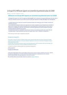 Le Groupe SFC et NETexcom signent une convention de partenariat autour du Cloud, Le Cloudexpert, 1 Octobre 2015