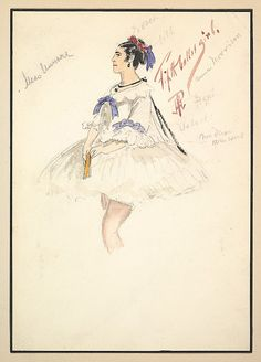 Costume Design for 'Fifth Ballet Girl' (Short White Dress)  Percy Anderson (British, 1850/51–1928 London)  Date: 1901 Medium: Watercolors over graphite Dimensions: Mount: 11 1/16 x 8 1/8 in. (28.1 x 20.6 cm) Sheet: 9 15/16 x 6 15/16 in. (25.3 x 17.7 cm) Classification: Drawings