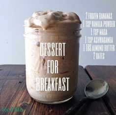 Who likes to have dessert for breakfast?!  Dessert for Breakfast -2 Frozen Bananas -2 Dates -1 tbs Almond Butter -1 tsp Vanilla Powder  -1 tsp Ashwagandha  -1 tsp Maca  Deeeeeelicious!!!  Here's where I buy my superior foods in this recipe: Ashwagandha: https://harmonicarts.ca/pro…/ashwagandha-powder-organic/…/64 Maca: https://harmonicarts.ca/product/maca-powder-organic/ref/64 Vanilla Powder: https://harmonicarts.ca/produ…/vanilla-powder-organic/ref/64
