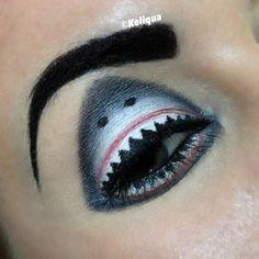 Unique Makeup Using Shark Idea, As Celebration of Shark Week Shark Makeup, Eye Makeup Art, Sfx Makeup, Eye Art, Costume Makeup, Makeup Inspo, Makeup Inspiration, Makeup Remover, Halloween Eyes