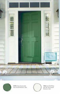 Ideas exterior door colors green benjamin moore for 2019 Exterior Door Colors, Front Door Paint Colors, Exterior Front Doors, Painted Front Doors, House Paint Exterior, Paint Colors For Home, Exterior Siding, Porch Doors, Green Siding