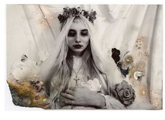 For Pixie and Rotter Zine - Horror Issue. by manic depressive narcissist, via Flickr #vintage #cross #crucifix #veil #roses #flora #gothic #victorian #beautiful #mystical #magick