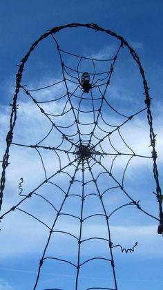 spider & web barb wire garden trellis