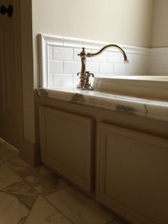 Calacutta Marble Floor And Tub Deck, Restoration Hardware Bistro Tub  Faucet, Wood Tub Apron