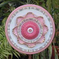 Glass Plate Flower repurpose vintage pink gold by ARTfulSalvage,