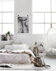 April 2016 - Styling: Michelle Halford (The Design Chaser); Photography: Lisa Cohen Photography. Artworks: Love Warriors, Vee Speers. Olli Ella Basket, Byron Bay hanging chair, Woollen Collective, Natures Collection Sheepskin.