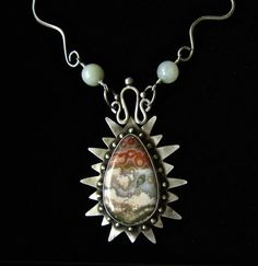 SOLD Handmade cabochon necklace of ocean jasper by mehtahdesigns