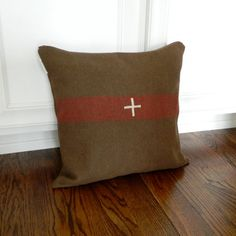 Wool EcoChic Pillow Cover, Swiss Cross Military, by BrinandNohl