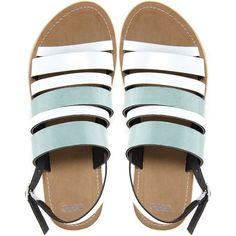ASOS FABLE Leather Flat Sandals ($25) ❤ liked on Polyvore featuring shoes, sandals, flats, green, leather flats, green flat sandals, open toe sandals, open toe flats and ankle wrap sandals