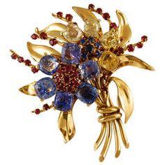 Van Cleef & Amp;  Arpels Gem Set Золотой цветок Букет брошь
