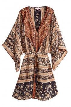 Alouetta Printed Silk Kimono Dress | Calypso St. Barth