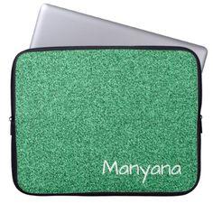 Custom text green faux glitter laptop sleeve - glitter glamour brilliance sparkle design idea diy elegant