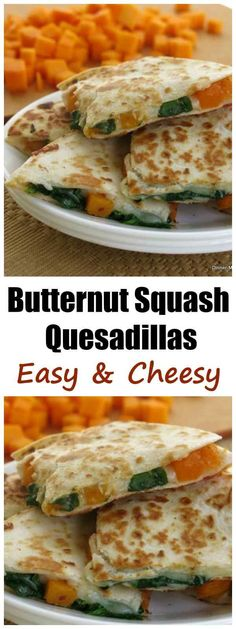 Butternut Squash and Spinach Quesadillas Recipe - these are so good! #vegetarian #butternutsquash