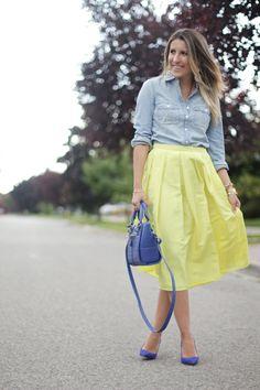 Chambray + Yellow + Blue = Work Week Inspiration //
