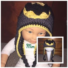 Batman inspired crochet baby hat. Made for a special little boy, Max... My BFF's grandson
