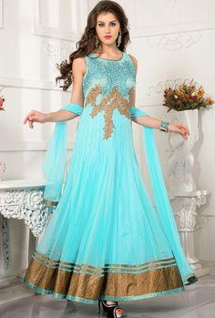 Sky Blue Net Ankle Length Anarkali Salwar Kameez 43782