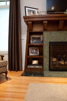 Built-ins around Fireplace - craftsman - living room - edmonton - Habitat Studio I love this style. As much as I want full built-ins, this could be perfect for the street living room. House Design, Home Fireplace, Mission Style Homes, House Styles, Craftsman Interior, Built In Around Fireplace, Craftsman Living Rooms, Craftsman Decor, Craftsman Style Homes