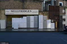 Other rib-tickling business names on the list included Bonnie Tiler, a tiling and plumbing company based in Gateshead, and Sellfridges (pictured), a white goods outlet in Stoke Newington. Top Freezer Refrigerator, Business Names, Kitchen Appliances, Flooring, Signs, Funny, Cooking Ware, Home Appliances, Novelty Signs