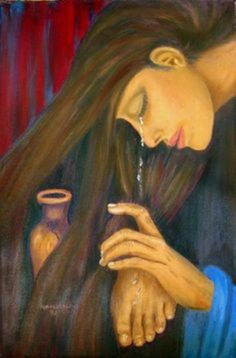 * Mary Magdalene washing Jesus' feet with precious perfumed oils in an expensive alabaster bottle & with her tears of gratitude. Drying His feet with her hair. Images Du Christ, Shona, Mary Magdalene And Jesus, Image Jesus, Jesus Is Life, Prophetic Art, Biblical Art, Jesus Art, Lion Of Judah